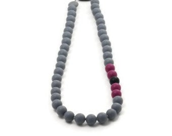 Silicone teething necklace -Inox - grey, eggplant and black