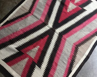 Vintage Navajo Rug, Large Native American Eye Dazzler