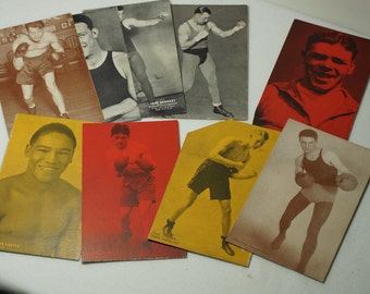 1920's Exhibit Supply Company Chicago Boxing Cards - Collectible Antique Arcade Cards