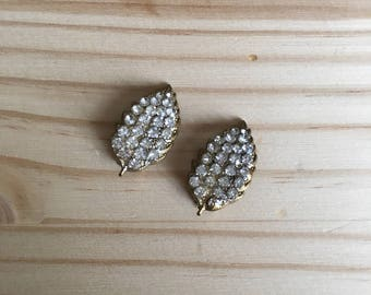 Clip on Earrings: Clear Diamanté Clip on Leaf Earrings