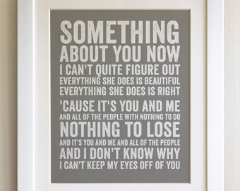 FRAMED Lyrics Print - Lifehouse, You and Me - 20 Colours options, Black/White Frame, Wedding, Anniversary, Valentines, Fab Picture Gift
