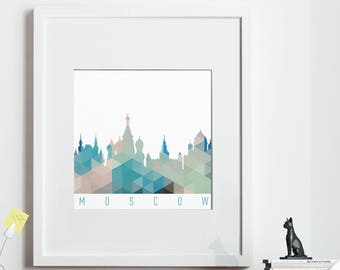 Geometric MOSCOW Print, *UNFRAMED* 2 sizes available, Modern Art Print