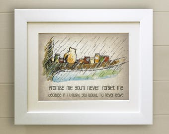 Winnie the Pooh QUOTE PRINT, Birth, Christening, Nursery Picture Gift, Pooh Bear, *UNFRAMED* Beautiful Gift
