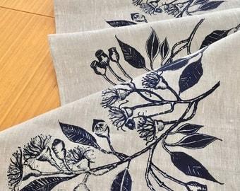 Linen table runner, Screen printed linen table runner, Hand printed table runner, Australian eucalypt, Indigo/Navy on flax  linen