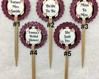 Set Of 12 Bridal Shower Cupcake Toppers (Your Choice Of Any 12)