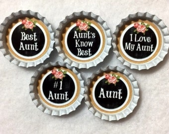 Customized Set of 5 Aunt Appreciation Bottle Cap Magnets