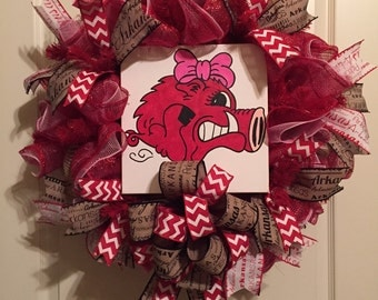 Arkansas Razorback Wreath, Baby Razorback Wreath, Razorback Wreath, University of Arkansas Wreath