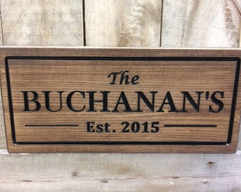Custom Wooden Sign Last Name Established Anniversary Personalized Sign Gift engraved sign Personalized Wedding Gift Family Name Signs Carved