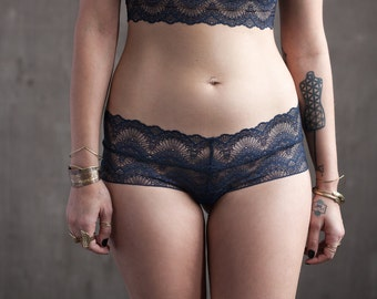 Low Rise Navy Blue Lace Panties with Organic Cotton Liner