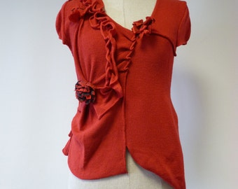 Handmade irregular red woollen blouse, M size. Feminine and fashion together, made of soft italian wool.
