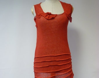 Special price. Artsy red linen top, M size.