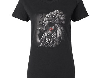 Chief Skull War Paint Women's T-Shirt Shirt Native American Indian Headdress Women Tees