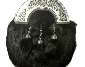 Scottish Kilt SPORRAN Black RABBIT FUR  with 3 Tassels