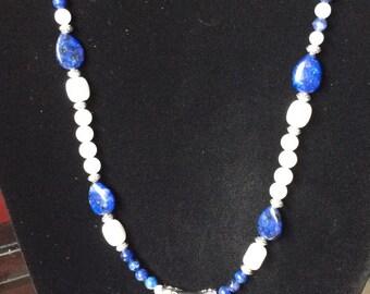 Brilliant blue striped agate necklace