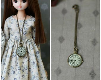 Necklace with watch for BJD MSD doll 1/4 size and for Blythe, Monster High and Azone dolls 1/6 size
