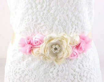 Pink & Ivory Bridal Sash - Pink and Ivory Maternity Sash - Maternity Photography Sash - Pink and Ivory Sash - It's a Girl Maternity Sash