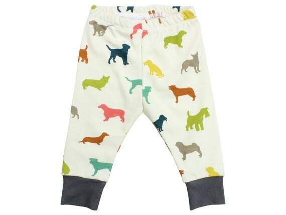 Organic Cotton Multicolor Dog Boy Baby Leggings Puppy Toddler Leggings Boy Leggings Unisex Baby Pants The Chase Multicolor Dog Leggings
