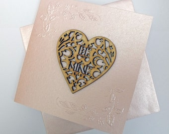 Heart Card 'Be Mine' Pink Lustre Valentine