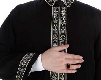 Qutan Muslim Long Kurta XS, S M, L, XL  Islamic Mens Wear, Bordured Thobe, Galabiyya, Jubbah, islamic wear, Muslim Tunic, Cubbe