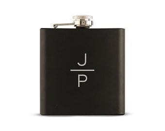 Black Monogram Flask - Black Hip Flask - Engraved Flask - Personalized Black Flask - Present - Gift - Stocking Stuffer - Christmas Gift