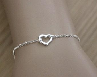 Sterling Silver heart Bracelet - silver Bracelet - Minimalist Bracelet - love Bracelet - valentine Bracelet - fine silver bracelet