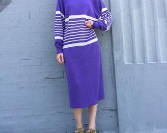 vintage 80s jordache lilac violet purple knitwear oversized lightweight stripe mididress dress size large
