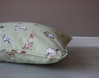 Luxury Handmade Feather Dog Bed In Green Dog Print, Available in Small, Medium and Large