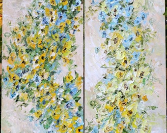 Large Original Oil Painting Blue Turquoise Yellow Beige Art Flowers Diptich Side by Side Painting Impasto Textured Impressionism 150x140cm