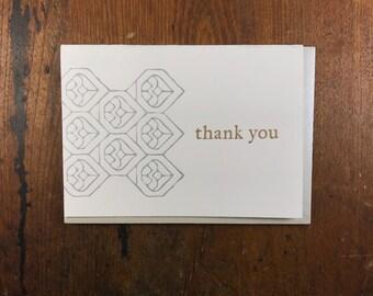 BOX of 6 Geometric Thank You Cards - Letterpress Printed in Portland Oregon