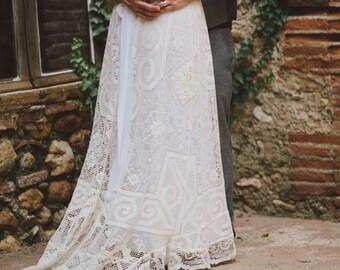 OOAK Custom 'Mirella'  Empire Antique Tuscany Lace Bohemian Wedding Dress
