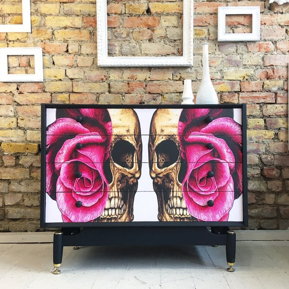 Upcycled vintage retro gplan chest of drawers in Skulls decoupage
