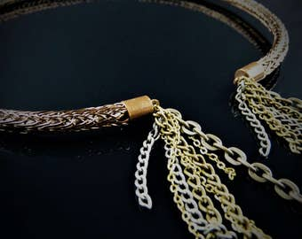 Stunning Steampunk Woven Wire Torc Neck Ring With Chain Tassels | Bronze Necklace | Bronze Torc | Torc Necklace | Torc Chocker | OOAK