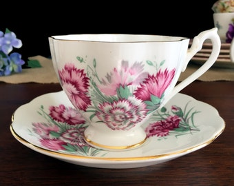 Queen Anne Carnations Tea Cup and Saucer, Bone China English Teacup with Pink Flowers