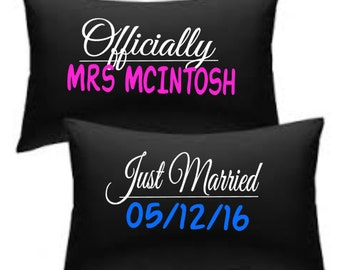 Officially Mrs (your name) just married wedding date print pillowcase set black
