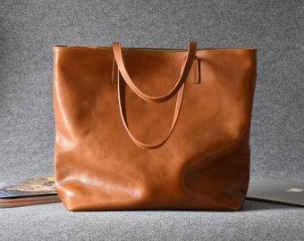 Large Top Zip Brown Leather Tote - LEA Handmade Camel Brown Leather Tote Bag