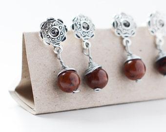 Beautiful stone earrings // russian jade // mahogany  // Nickel and lead free ! //