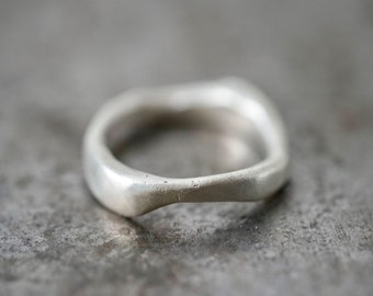 organic flowing sterling silver ring, size 7.75, unique ring, partner ring, engagement ring, alternative wedding, recycled silver, handmade