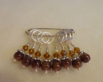 Snag Free Stitch Markers in Brown (Set of 8) (E0039)