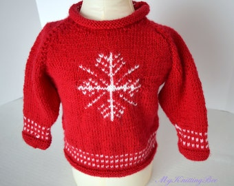 Hand Knit Christmas Sweater for Baby in Red (12-18 months)