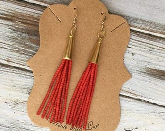 Beaded tassel earrings | fringe earrings | Gold Earrings