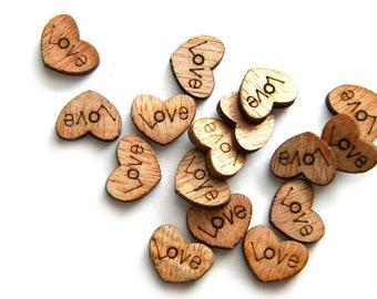 20 Wooden Love Heart Flatbacks