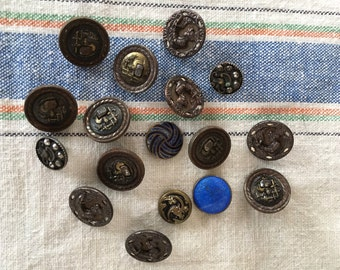 Antique Buttons, Jewelry Supplies, Arts & Crafts, Brass Metal