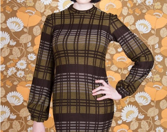 Brown/White/Yellow Round neck dress with Bagged Sleeves