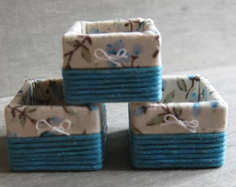 1/12th Scale Set of 3 Storage Baskets - Blue / Floral