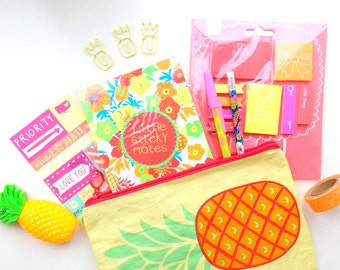 Fun tropical DIY / stationery grab bag, pineapples, neon, sticky notes, goodie bag