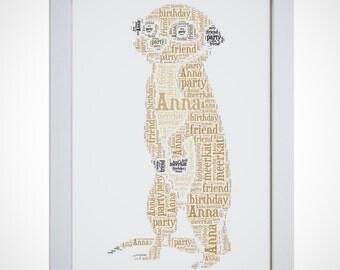 Personalised Meerkat Framed Word Art Cloud Picture Birthday Gift