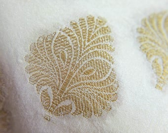 Free Shipping in US - Luxurious Hand Woven Benarasi Brocade Silk Fabric with Golden Jacquard Patterns by Yardage