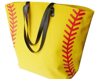 X Large 22 Inches Wide Softball Lace Stitching Print Baseball Canvas Cotton Tote Bags Sports Girls Team Players Accessories