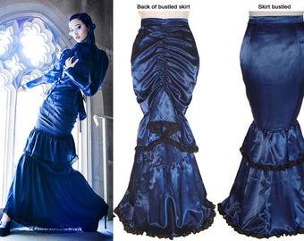 Dark Blue Satin Single Bustle Skirt  - Ready To Ship