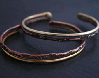 Texture Bar Bracelet- Cuff Bracelet Copper and Bronze